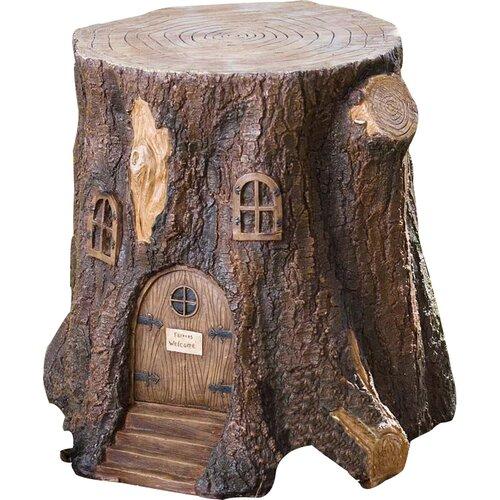 Plow Amp Hearth Whimsical Fairy Garden Tree Stump Stool