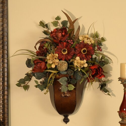 Wall Sconces With Flowers: Floral Home Decor Silk Flower Wall Sconce With Faux