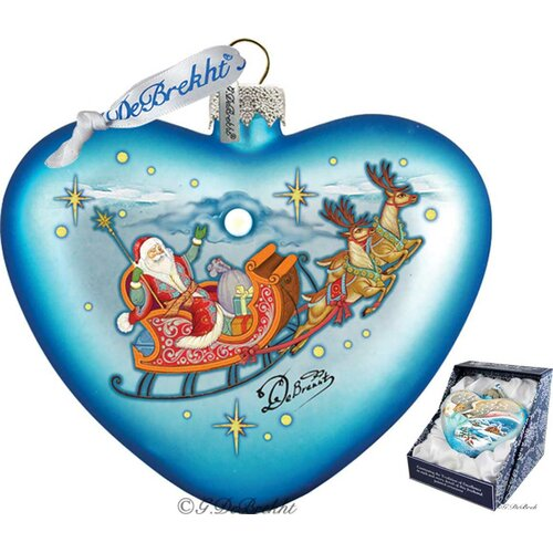 Holiday santa on his way heart glass ornament wayfair - Ornament tapete weiay ...