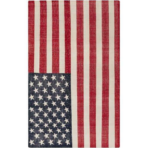 Surya Quinton Cherry & Navy American Flag Area Rug