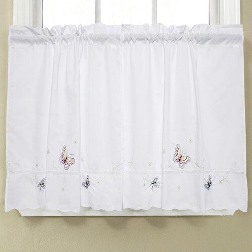 monarch embroidered butterfly kitchen tier curtain wayfair