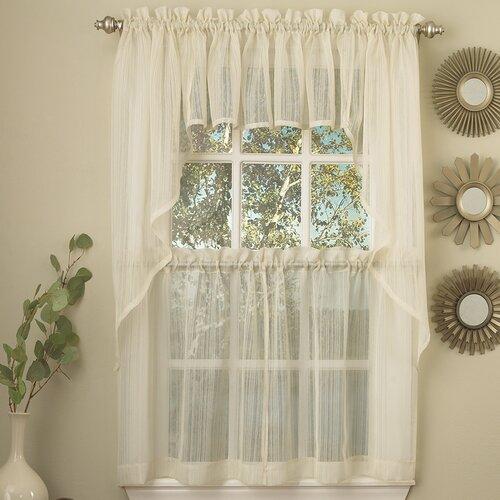 Harmony Micro Stripe Semi Sheer Kitchen Curtain Swag Wayfair
