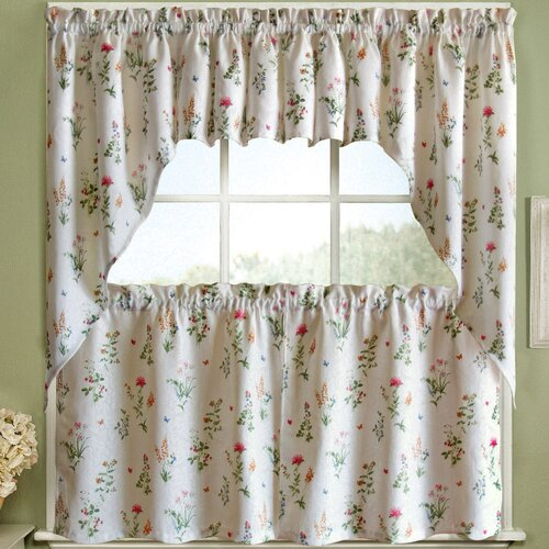 English garden floral jacquard kitchen tier curtain wayfair for English floral curtains
