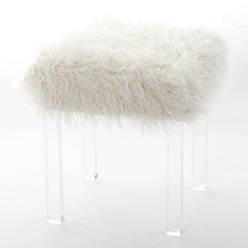 wild mannered mongolian lamb faux fur acrylic square leg stool