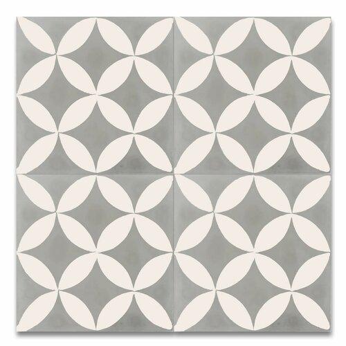 Amlo 8 x 8 handmade cement tile in white and gray wayfair for Handmade cement tiles