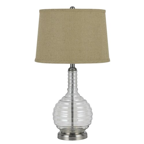 way glass 28 5 h table lamp with empire shade by cal lighting. Black Bedroom Furniture Sets. Home Design Ideas