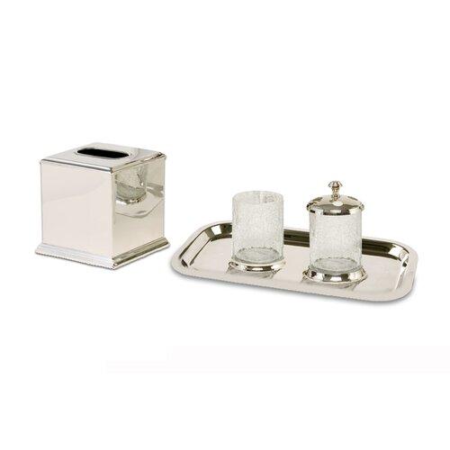 crackled glass 4 piece bathroom accessory set wayfair. Black Bedroom Furniture Sets. Home Design Ideas
