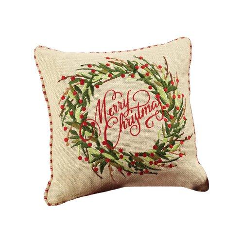 Mud Pie Merry Christmas Burlap Throw Pillow & Reviews Wayfair