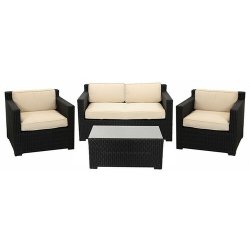 4 piece outdoor patio furniture set with cushions wayfair for Outdoor furniture wayfair