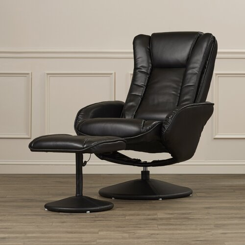 Alcott Hill Leather Heated Reclining Massage Chair Ottoman Set Re