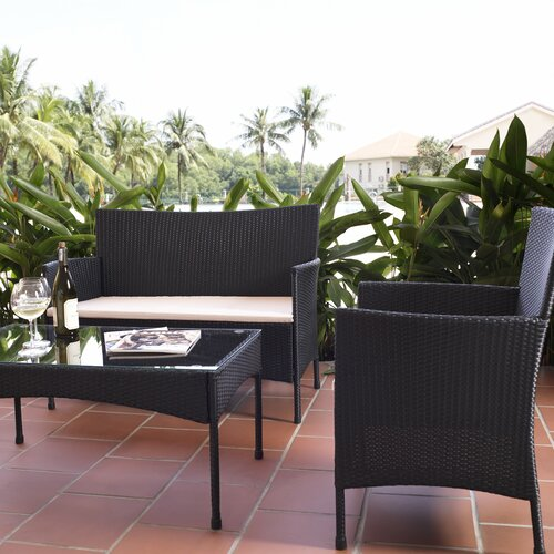 LB International 4 Piece Resin Wicker Patio Furniture Set & Reviews