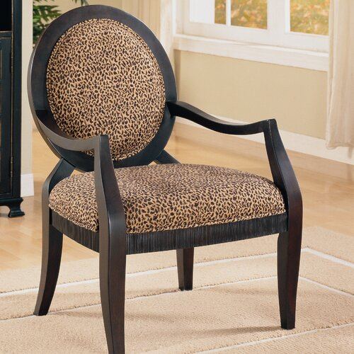 House Of Hampton Leopard Print Distressed Fabric Arm Chair
