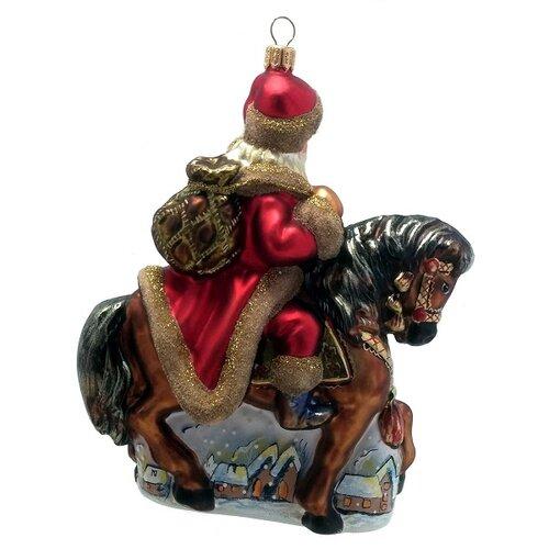 Santa claus riding on a horse polish mouth blown glass