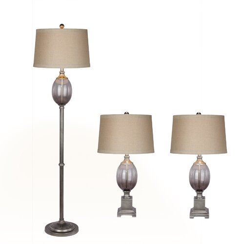 fangio lighting 3 piece table and floor lamp set. Black Bedroom Furniture Sets. Home Design Ideas