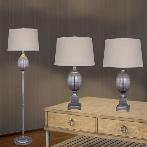 Fangio 3 Piece Metal And Seeded Glass Table Floor Lamp Reviews Wayfair