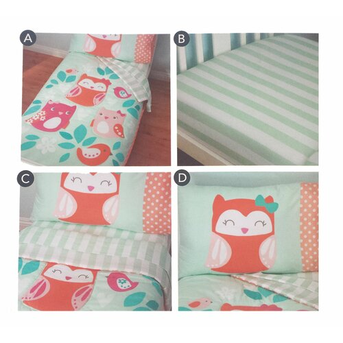 Owls Too Cute To Hoot Bed 4 Piece Toddler Bedding Set ...