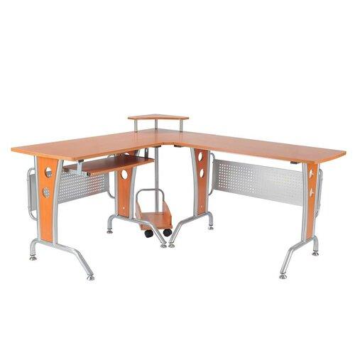 HomCom Modern L-...L Shaped Computer Desk For Two
