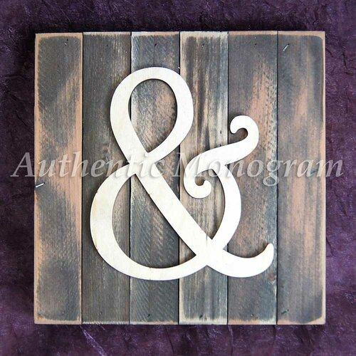 Rustic Monogram Wall Decor : Amonogramartunlimited ampersand monogram letter mounted on