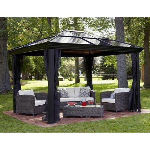 ... Patio Umbrella With Mosquito Netting By Meridien 16 Ft W X 11 Ft Gazebo  Wayfair ...
