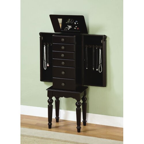 rosalind wheeler lynam jewelry armoire with mirror. Black Bedroom Furniture Sets. Home Design Ideas
