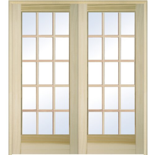 15 lite prehung interior french double door wayfair for 15 lite french door