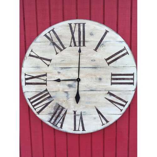 oversized 34 quot vintage style painted wood wall hanging clock wayfair