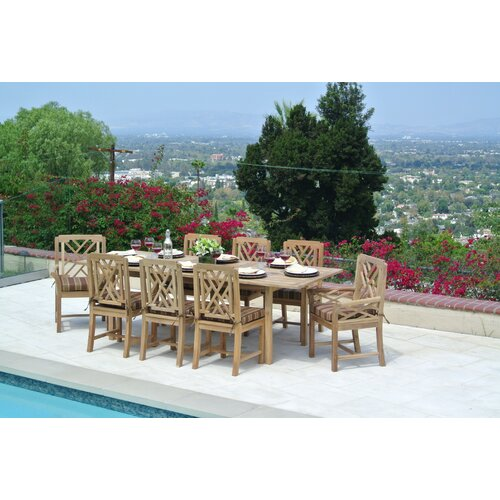 Willow creek designs malibu outdoor teak 9 piece dining for Willow creek designs
