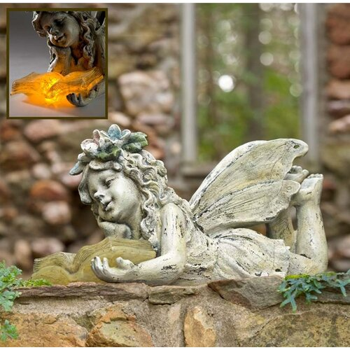 Wind weather solar reading fairy garden statue reviews Reading fairy garden statue