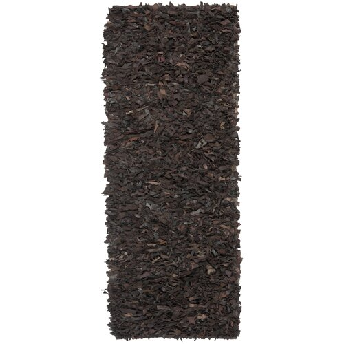 Leather Shag Dark Brown Area Rug by Safavieh