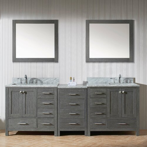 Caroline 90 double bathroom vanity cabinet set with for Bathroom cabinets 90