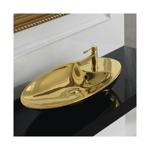 shape oval 1 hole vessel bathroom sink wayfair. Black Bedroom Furniture Sets. Home Design Ideas