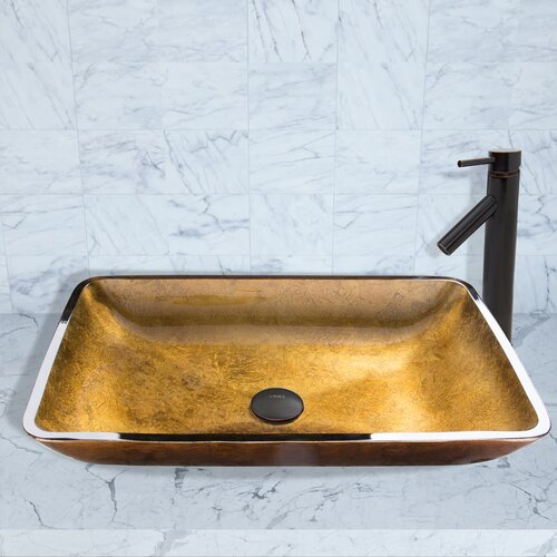 Rectangular copper glass vessel bathroom sink and dior for Rectangular copper bathroom sink