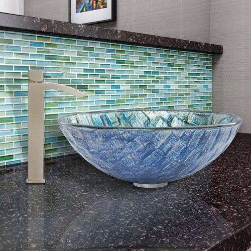 Oceania glass vessel bathroom sink and duris faucet set - First outlet vigo ...