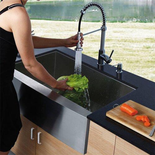 Vigo Camden Farmhouse Single Bowl Kitchen Sink: Vigo 36 Inch Farmhouse Apron Single Bowl 16 Gauge