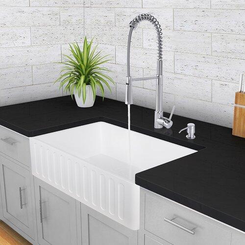 Vigo Camden Farmhouse Single Bowl Kitchen Sink: Vigo 33 Inch Farmhouse Apron Single Bowl Matte Stone