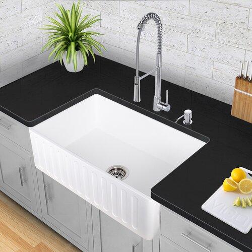 Vigo 33 inch Farmhouse Apron Single Bowl Matte Stone Kitchen Sink ...