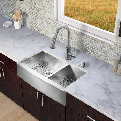 Farmhouse Double Bowl Kitchen Sink : Vigo-All-in-One-36-x-22.25-Farmhouse-Double-Bowl-Kitchen-Sink-with ...