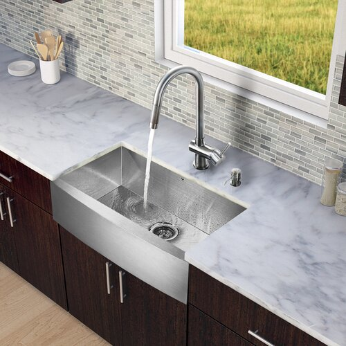 30 Inch Stainless Steel Farmhouse Sink : 30 inch Farmhouse Apron Single Bowl 16 Gauge Stainless Steel Kitchen ...