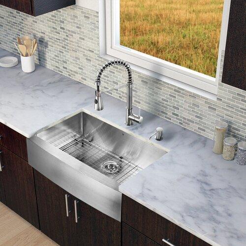 33 Farmhouse Sink White Single Bowl : 33 inch Farmhouse Apron Single Bowl 16 Gauge Stainless Steel Kitchen ...