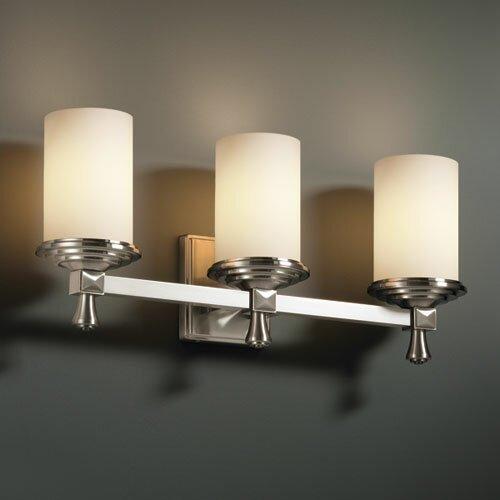 Justice Bathroom Lighting: Justice Design Group Fusion Deco 3 Light Bath Vanity Light