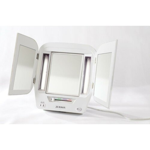 Jerdon Euro Tabletop Dual Sided Tri Fold Lighted Makeup