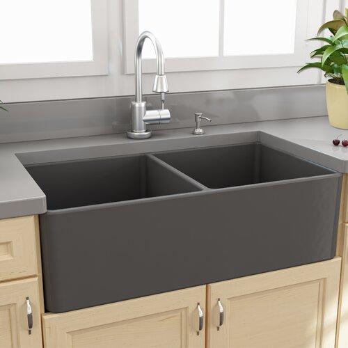 """Fireclay Farmhouse 33 25"""" x 18"""" Double Bowl Kitchen Sink"""