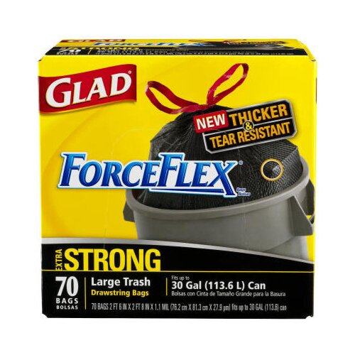 70 per Carton) 30 Gallon Drawstring Force Flex Trash Bags in Black by