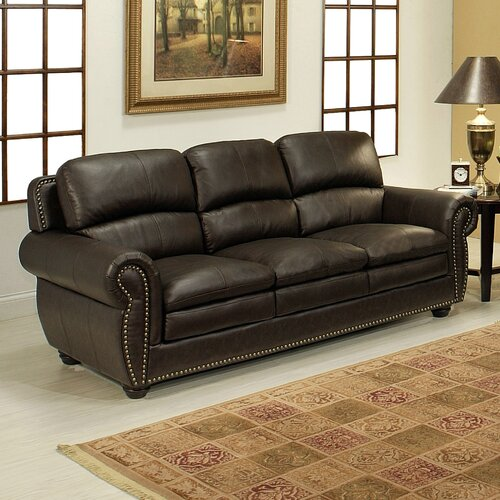 abbyson living ridgecrest leather sofa reviews wayfair