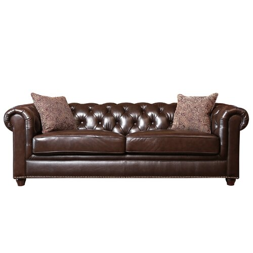 Abbyson Living Berkley Leather Sofa Reviews Wayfair