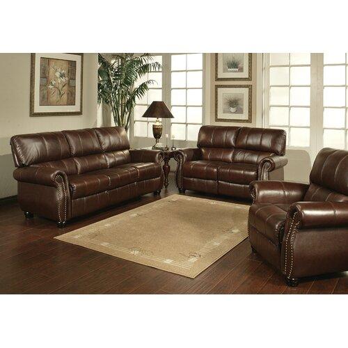 abbyson living houston italian leather sofa loveseat and armchair set
