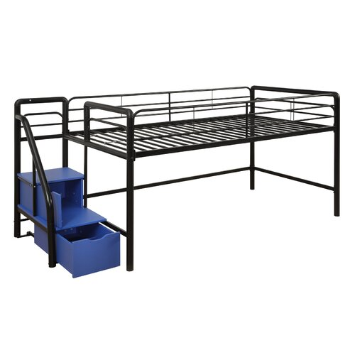 dhp junior twin metal loft bed with storage steps reviews wayfair. Black Bedroom Furniture Sets. Home Design Ideas