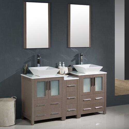 "Torino 60"" Double Modern Bathroom Vanity Set with Mirror ..."