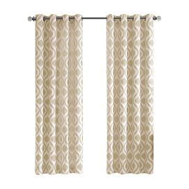 Isabella Damask Black 0026 White Curtain Panel (set van 2)