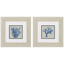 Chambray Coral 2 Piece Framed Painting Print Set